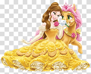 Belle Rapunzel Ariel Fa Mulan Princess Jasmine, Disney Princess Belle with Cute Pony , Belle with horse PNG clipart