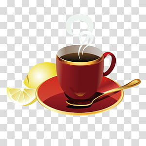 Coffee cup Cafe Breakfast, Red coffee cup PNG