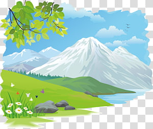 nature painting, Drawing , Beautiful scenery PNG clipart