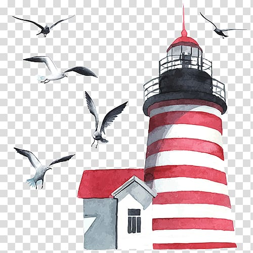 Watercolor painting Lighthouse , others PNG