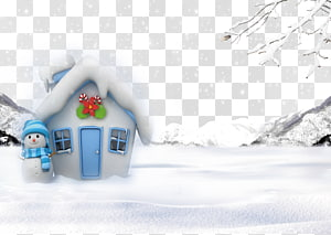 Snowman Christmas House Snowflake, Children painting snow house PNG clipart