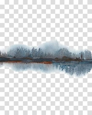 trees reflecting on body of water painting, UGallery Watercolor Landscape Watercolor painting Abstract art Landscape painting, Ink Forest PNG clipart