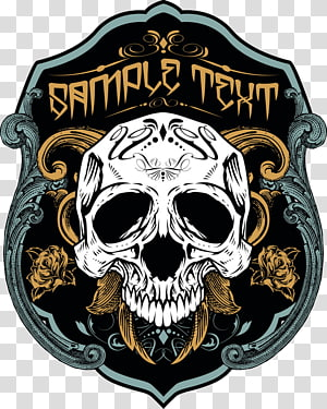 sample text illustration, Printed T-shirt Skull Necklace, Skull Shield PNG