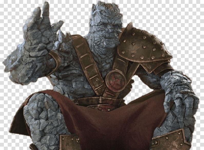 character wearing brown armor illustration, Korg Saying Hello Thor PNG clipart