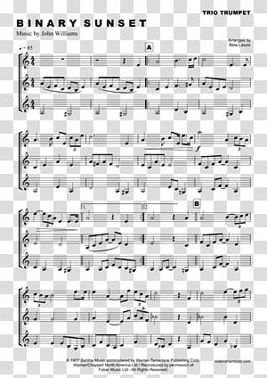 Sheet Music Trumpet Musical note Binary Sunset (alternate) Star Wars, sheet music PNG clipart