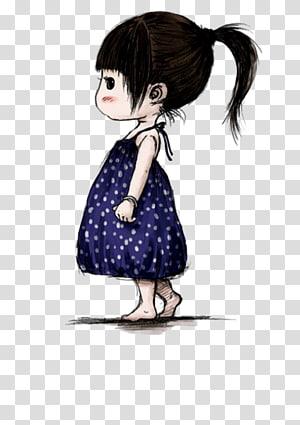 Cartoon Girl Daughter Illustration, Cute little girl PNG clipart