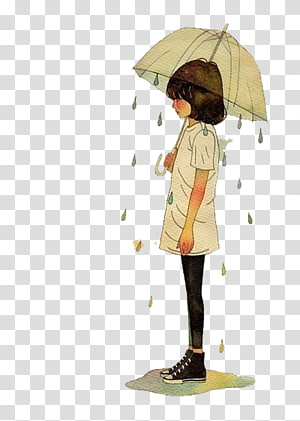 girl holding umbrella illustration, Girl Woman Illustration, Umbrella girl PNG clipart
