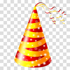 red and yellow birthday cone illustration, Birthday cake Party hat , Red and yellow birthday hat PNG clipart