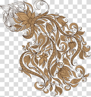 brown floral illustration, Aquarius Zodiac Astrological sign Astrology Illustration, Aquarius PNG