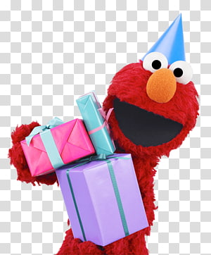Elmo illustration, Sesame Street Elmo With Gifts PNG