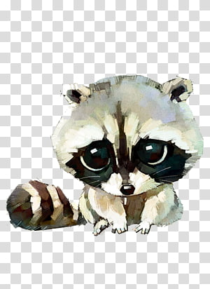 baby raccoon , Raccoon Cat Dog Watercolor painting Drawing, Hand-painted cartoon raccoon PNG