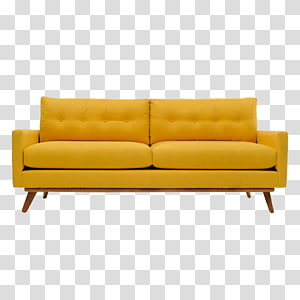 tufted yellow padded couch with brown wooden frame, Couch Mid-century modern Table Sofa bed Furniture, A sofa PNG