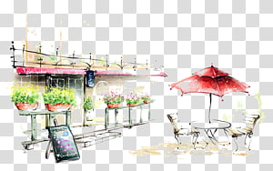 plants and patio table illustration, Coffee Cafe Drawing Painting Illustration, Landscape oil painting material PNG