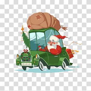 santa claus driving PNG clipart