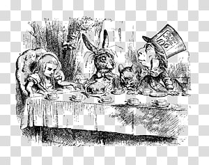Alice in Wonderland , Alice\'s Adventures in Wonderland The Mad Hatter March Hare White Rabbit Tea, alice in wonderland PNG clipart