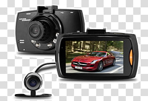 Car Dashcam Digital Video Recorders 1080p Video Cameras, Dual Cameras PNG clipart