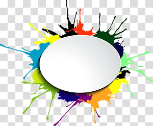 multicolored paint splash , Watercolor painting , round frame Ink PNG clipart