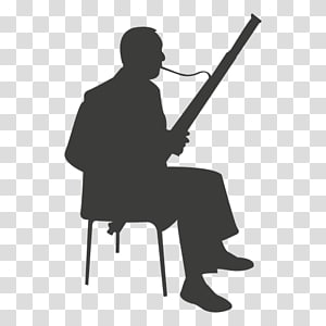 Silhouette Bassoon Music , saxophone player PNG