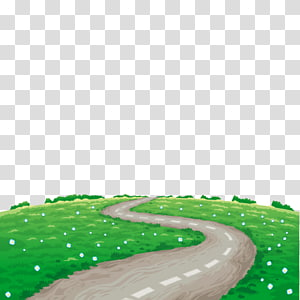 Landscape Illustration, spring road PNG clipart