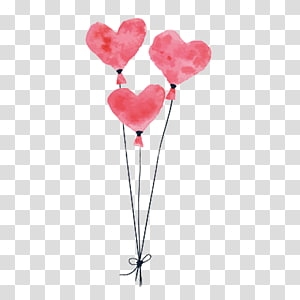 three pink heart balloon , Balloon Drawing Pink, Pink balloon PNG clipart