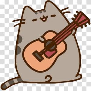 Pusheen the cat , Cat Pusheen Guitar Kitten, Cat PNG