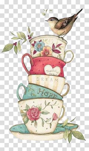 bird and teacup , Teacup Towel Teapot, tea PNG