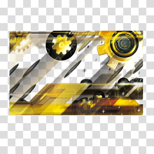 yellow and black gear illustration, Yellow technology banner background PNG clipart