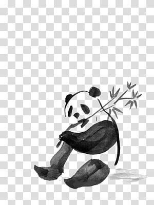 panda eating bamboo sketch, Giant panda Field Book of Western Wild Flowers Ink wash painting Watercolor painting Drawing, Watercolor Panda PNG clipart