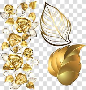 golden rose decorative elements PNG