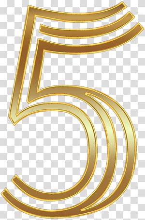 gold-colored number 5 illustration, Number Gold , Number Five Gold PNG clipart
