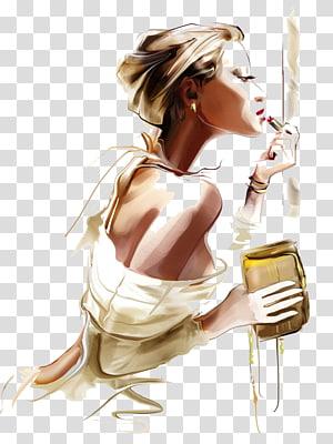 woman applying lipstick illustration, Fashion Canvas print Printmaking Portrait, girl PNG clipart