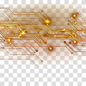 gold circuit , Integrated circuit Electronic circuit, Gold chip lines PNG clipart