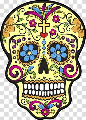 yellow Sugarskull , La Calavera Catrina Mexican cuisine Day of the Dead Skull, skull PNG