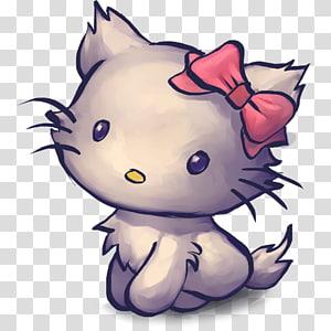 art carnivoran kitten violet , TV Kitty, illustration of kitten with ribbon PNG