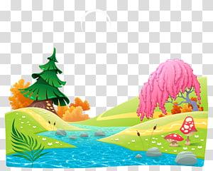 pine tree near river , Castle Cartoon Illustration, Cartoon fairy tale world PNG clipart