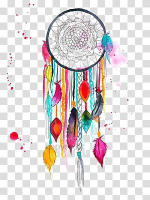 multi color dream catcher illustration, Dreamcatcher Art Watercolor painting Drawing, Dreamcatcher PNG