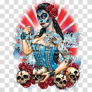 La Calavera Catrina Skull Day of the Dead, skull PNG