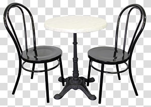 black-and-white 3-piece bistro set, Table Cafe Coffee Chair Bar stool, wheelchair PNG