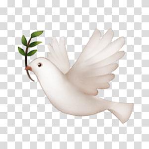 white dove illustration, Emoji Peace symbols Doves as symbols iPhone Columbidae, Emoji PNG