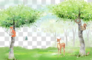 deer between two trees painting, Fresh forest animal background PNG clipart