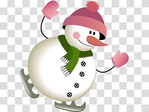 Snowman New Year , Skiing snowman PNG