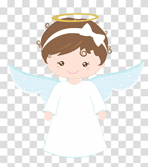 girl angel with white headband illustration, Baptism Eucharist , angel PNG