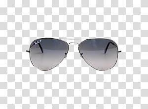light gray thin frame ray-ban sunglasses PNG