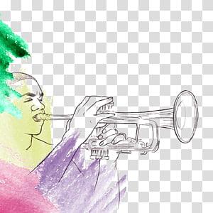 Trumpet Jazz Illustration, blowing trumpet PNG