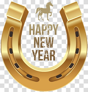 happy new year metallic horseshoe PNG clipart