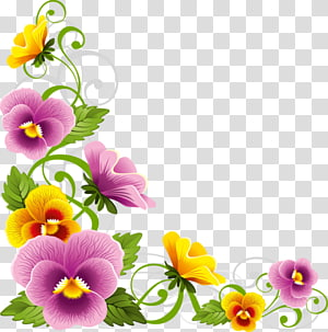 beautiful flowers border frame PNG clipart