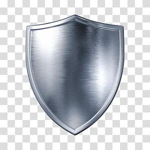 silver shield graphic, Shield , silver metal shield PNG
