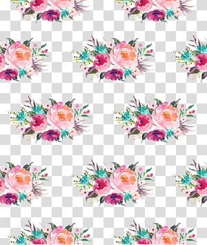 watercolor pink flowers PNG
