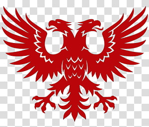 red 2-head bird logo, Double-headed eagle Byzantine Empire Symbol , Skinhead PNG clipart