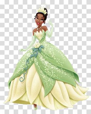 Tiana Rapunzel Belle Cinderella Ariel, Princess Tiana , green and white dress girl PNG clipart